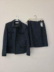 Tahari Arthur S. Levine Womens Size 14 Blue Black Blazer Pencil Skirt Set