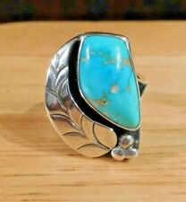 .925 unsigned Usa Size 8.5 Vintage Navajo Sterling Silver Turquoise Ring