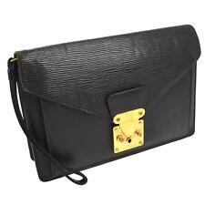 AUTH LOUIS VUITTON POCHETTE SELLIER DORAGONNE CLUTCH HAND BAG BLACK EPI BT12868