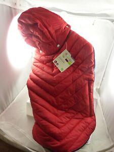 Pet dog rain coat red blue hooded jacket doggy large fleece cozy warm