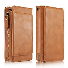 PU Leather Wallet Coin Card Zipper Bag Shockproof Mobile Phone Case For iPhone X