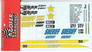 GOFER Racing , Modern SHERIFF Mrkg Decals For Model Cars in 1/24, 1/25 11025 ST