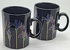 Otagiri Mug Blue Iris Black Gold Accents 12 Sided Coffee Tea Mug Cup Japan x 2