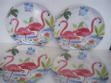 "Cynthia Rowley Flamingo Melamine 11"" Dinner Plates Indoor Outdoor"