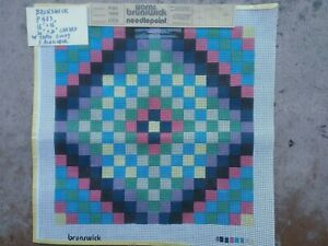 """Painted needlepoint canvas by Brunswick P483 16"""" x 16"""" 3 available w/ yarn count"""