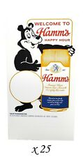 "25 Cardstock Hamm's Beer Happy Hour Bar Table Tents - 6"" x 4"" x 3"""