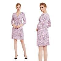 Women's Silky Polka Dot V-Neck Twist Pleated Dress Fashion Evening Pink Purple