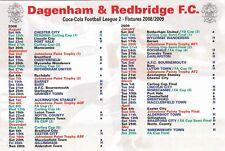 Fixture List - Dagenham & Redbridge 2008/9