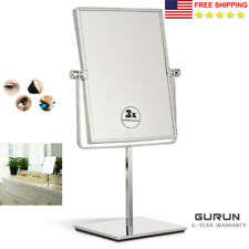 GURUN Square Vanity Tabletop Makeup Mirror with 3X/1X Magnifying Chrome Polished