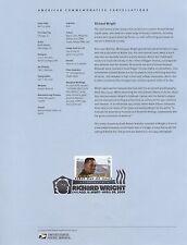 #4386 61c Richard Wright Stamp USPS #0912 Souvenir Page