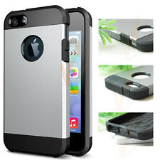 Heavy Black and Silver Hard Plastic Cover Case For Apple iPhone 5 5S CA