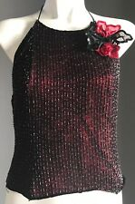 Pre-owned Red & Black Beaded MONSOON Halter Neck Top w Corsage Brooch Size 12