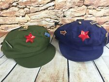 2 China Soldier Military Caps Hats Blue Green Cotton Red Star Badge Pins Costume