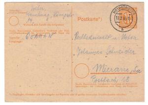 Ganzsache P905 AM Post Neumünster 18.2.1946 nach Meerane Sachsen !