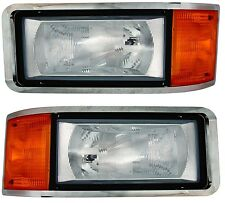 90-06 Mack CH CH600 Left Right Side Headlight Lamp Amber Corner + Bulbs!!!