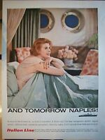 1958 Vintage ITALIAN LINE Cruise Ship Lady Lingerie Bed Tomorrow Naples Ad