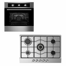 Cookology Stainless Steel 60cm Single Electric Fan Oven & 5 Burner Gas