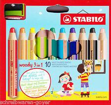 10-er ASTUCCIO STABILO WOODY 3 in 1 con Spitzer 880/10-2