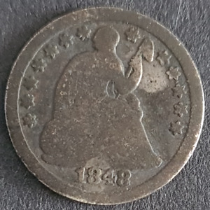 USA, Seated Liberty Half Dime, 1848 O, Silver, New Orleans
