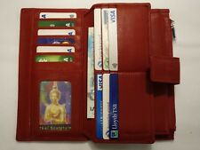 Soft Leather Purse Wallet Organiser Extra Large Many Features Top Brand RED