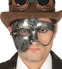 LADIES MENS STEAMPUNK MASK DELUXE SILVER MASQUERADE BALL VENETIAN VENICE NEW