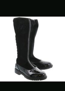 Lelli Kelly Chiara Alto Magiche Nero Vernice Diamante ZipUp Boots-SIZE UK 8 EU26