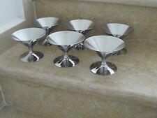 vintage Mid Century stainless steel bauhaus modernist design 6 ice cream cups