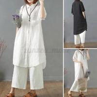 ZANZEA Women Cotton Short Sleeve Baggy Tops Casual Holiday Long Tee Shirt Blouse