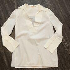 TORY BURCH Tatum Long-Sleeve Cotton Tunic, White  sz 2