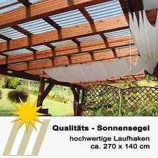 Sonnensegel für Seilspannmarkise in ca. 270x140 cm creme mit 20 Laufhaken