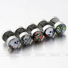 10x Stainless Steel UV Skull Fake Cheater Expander Stretcher Ear Plugs Ear Stud