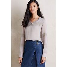 Anthropologie One Fine Day Grey Lace Peasant Souline Blouse Boho Top Size M 8 10