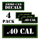 """40 CAL Ammo Can LABELS STICKERS DECALS for Ammunition Cases 3""""x1.15"""" 4 pack"""