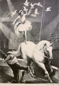 MABEL DWIGHT 20th c. American WPA Artist ORIGINAL SIGNED LITHOGRAPH Circus 1930