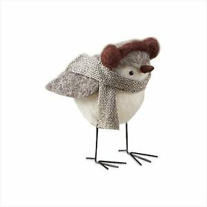 Grey Winter Bird Figurine Statue Decoration with Ear Muffs and Scarf