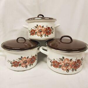Vintage Enamelled Casserole Pots x 3  18 20 22 cm Floral Retro Cooking Stockpots