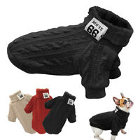 Knit Turtleneck Dog Sweater Winter Warm Chihuahua Clothes French Bulldog Yorkie