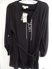 Michael Kors Chain Lace Up Shirt Tie Belt Button-Up Sleeves Plus Size 2X - Black