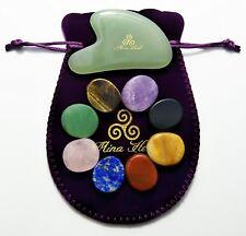 8 PCS Chakra Stones and 1-PCS Jade Gua Sha Facial Massager, for 7 Chakras