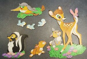Vtg Walt Disney Bambi Nursery Wall Hanging Thick Cardboard 7 Piece Dolly Toy Co