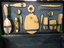 Vintage women's suitcase with complete toiletry set very rare