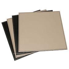 Reversible Flip 4 Placemats Black Taupe Square Faux Leather Table Mats Set