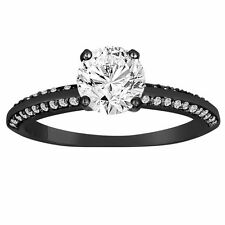 0.76 Carat Diamond Engagement Ring 14K Black Gold Vintage Style Micro Pave
