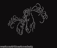 Horse Heads Rhinestone Iron on T Shirt Design    5FV0