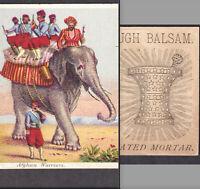 Mortar Pestle Heath Apothecary Cure Hallowell ME Afghan Warrior Elephant Ad Card