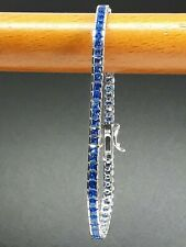 STERLING 925 SILVER JEWELRY NATURAL CEYLON BLUE SAPPHIRE LADY TENNIS BRACELET