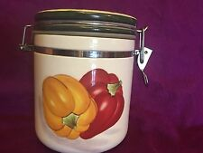 Fresco Mercado Baum Bros Eyes Style Red Yellow Pepper Jar Canister Lidded Lid