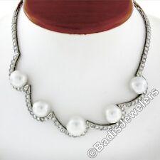 Vintage Platino 10.25ctw Diamante & Flotante SUR Mar Perla Collar de tendencia