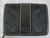 Coach Black Signature Canvas Leather Wallet Coin Bilfold Credit Card Zip Small
