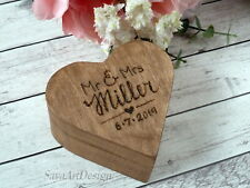 Wedding Ring Box Heart Shaped, Wooden Rustic Ring Bearer. Personalized